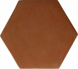 8 inch Hexagon Handcrafted Lincoln Red Terra Cotta Tile