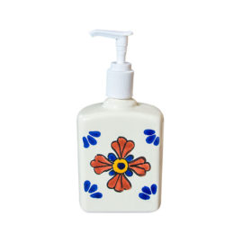 Soap Dispenser with hand painted decorative elements