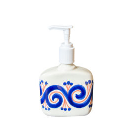 Soap Dispenser with hand painted blue and terra cotta elements