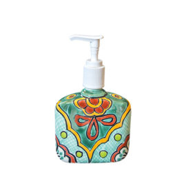 Soap Dispenser with green, yellow and red elements