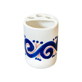 Toothbrush Holder with hand painted blue and terra cotta elements