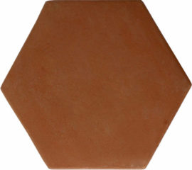 12 inch Hexagon Handcrafted Lincoln Red Terra Cotta Tile