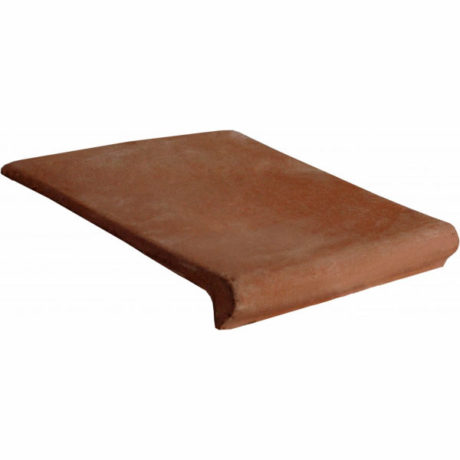 12×12 Stair Tread Handcrafted Lincoln Red Terra Cotta