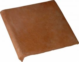 Double Bullnose 12x12 Stair Tread Handcrafted Lincoln Red Terra Cotta Tile