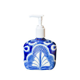 Soap Dispenser with white and blue decorative elements