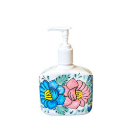 Soap Dispenser with pink and blue flower accents