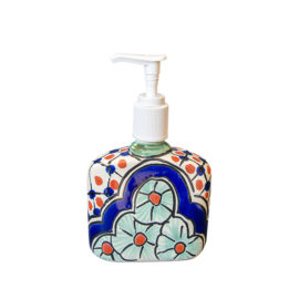 Soap Dispenser with blue and orange ornamental accents