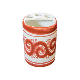 Toothbrush holder with hand painted elements