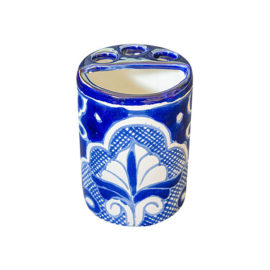 Toothbrush Holder with white and blue decorative elements