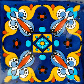 Jardin Del Pueblo Azul Patterned Tile