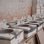 Mexican Tile Decorations mix drying in moulds